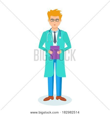 Concept of health, medicine. The doctor in the hospital wears a doctor's dressing gown with the necessary equipment and documents in hand. Modern vector illustration isolated in cartoon style.