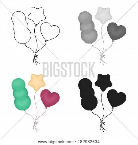 Baloons icon in cartoon style isolated on white background. Circus symbol vector illustration.