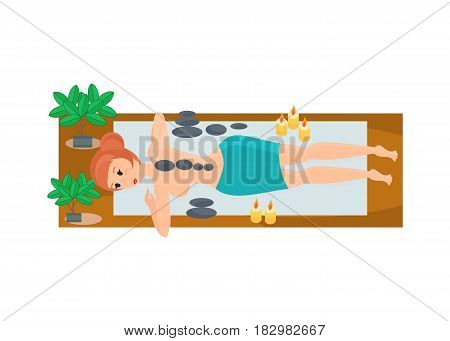 A young, beautiful girl, lying on a bench, at a masseur's reception in a cozy atmosphere and a quiet atmosphere. Women in beauty studio. Modern vector illustration isolated in cartoon style.