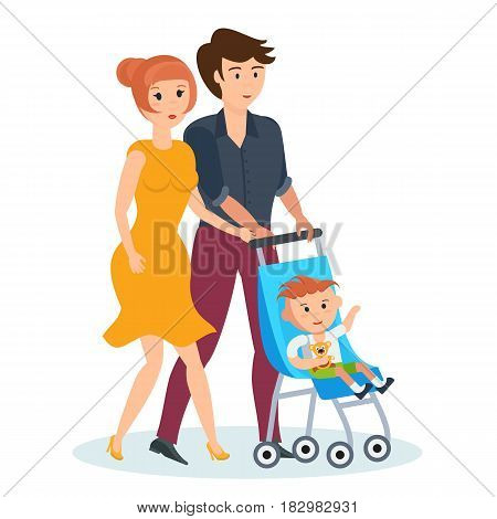 Happy couples in love concept. Young family walking in the park, spends time together, the husband and wife driven armchair with children. Modern vector illustration isolated in cartoon style.