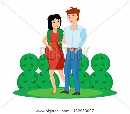 Happy couples in love and pregnant woman concept. A young couple is walking in the park, a tall guy with a pretty pregnant girl. Modern vector illustration isolated in cartoon style.