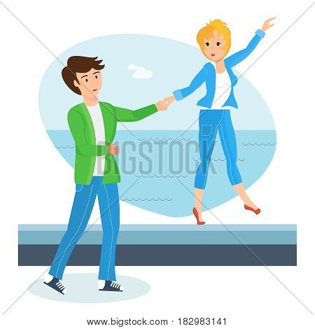 Happy couples in love concept. A loving couple sunny on a warm summer day, walks along the waterfront, relax and devote time to each other. Modern vector illustration isolated in cartoon style.