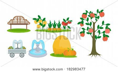 Elements of a farm plot, a bench for rest, fruit trees and beds, fountains. Modern vector illustration isolated on white background.