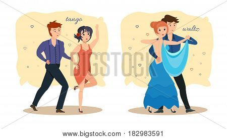 Young couples dance modern types of dances: passionate tango and delicate, sensual waltz, in beautiful dresses and costumes. Modern vector illustration isolated in cartoon style.