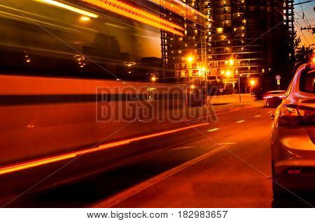 A Moving Blurred Bus