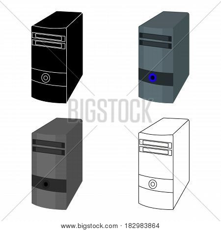 Computer case icon in cartoon design isolated on white background. Personal computer accessories symbol stock vector illustration.