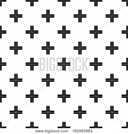 Crossing road pattern seamless in simple style vector illustration