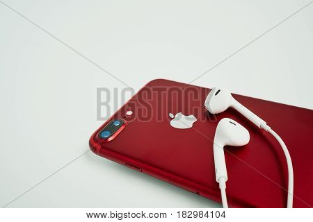 Bangkok, Thailand - April 08, 2017: Side View Of New Iphone 7 Pl