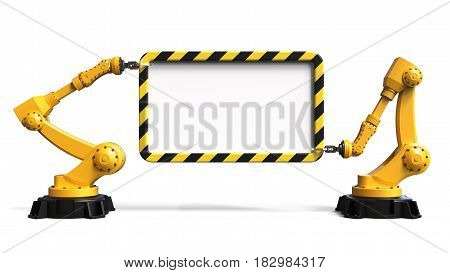 Industrial robots holding a board isolated on white background 3D rendering