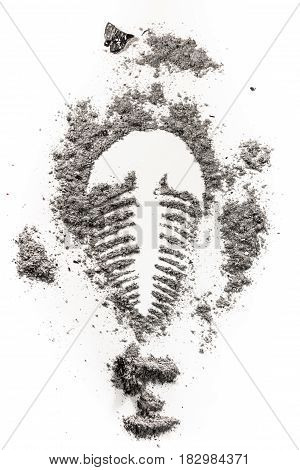 Trilobite fossil imprint drawing silhouette in grey stone dust ash dirt as archeolog history geology paleontology evolution extinct life concept illustration