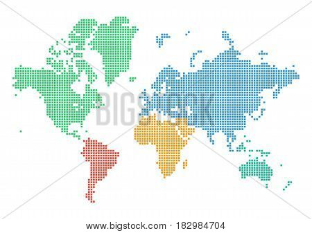 Colorful dotted world map of continents isolated