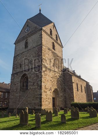 evangelical church St. Peter Hohensyburg Dortmund Germany and graveyard
