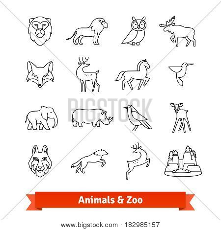 Zoo animals and birds. Thin line art icons set. Zoological garden wildlife, national park landscape. Linear style symbols isolated on white.