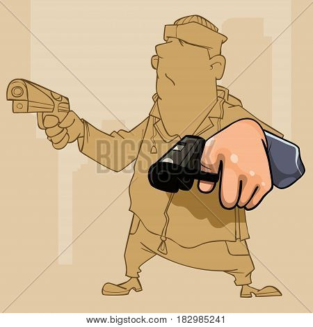 cartoon male perp with two pistol in his hands
