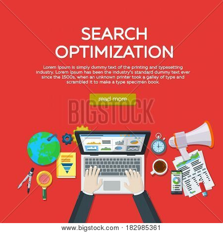 Web analytics elements and marketing. Website development search engine optimization. Workplace expert in SEO. Manager top view workplaces flat vector illustration. Template for advertising posters.