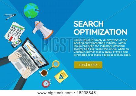 Website development search engine optimization. Web analytics elements and marketing. Workplace expert in SEO. manager top view workplaces flat vector illustration. Different items on the table.