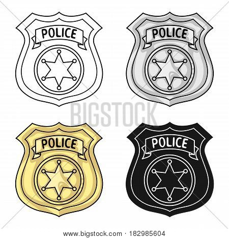 Police officer badge icon in cartoon style isolated on white background. Crime symbol vector illustration.