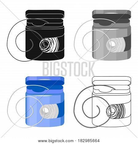 Dental floss icon in cartoon style isolated on white background. Dental care symbol vector illustration.