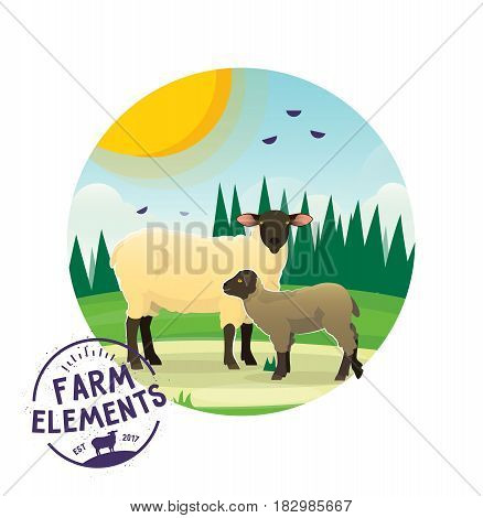 Farmer domestic animal icon on the background of sunny landscape, green glade with forest. Isolated icon of sheep with lamb child. Village, countryside theme