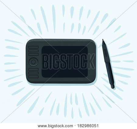 Vector funny cartoon illustration of graphics tablet and pen. Top view