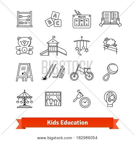 Child development and childhood education. Thin line art icons set. Kids toys, care, routine. Linear style symbols isolated on white.