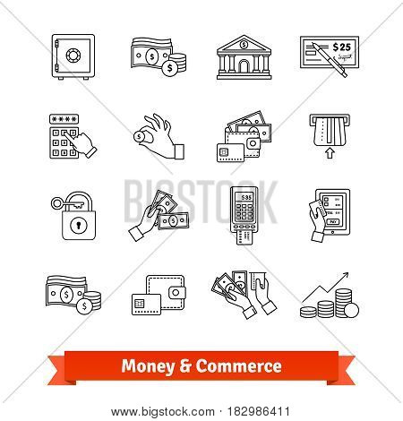 Money and commerce icons thin line set. Currency operations, banking building, cash in hands and economy. Linear style illustrations isolated on white.