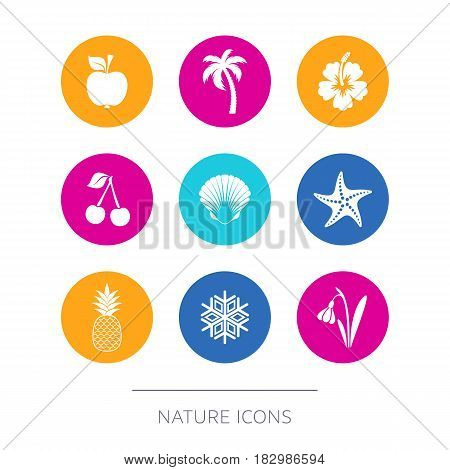 Simple modern nature icons collection round buttons