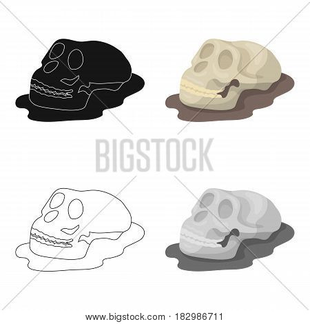 Human fossils icon in cartoon design isolated on white background. Dinosaurs and prehistoric symbol stock vector illustration.