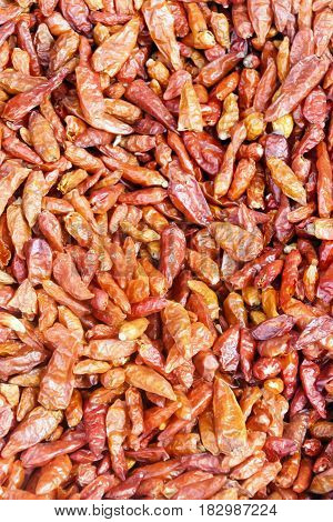 Dried red peppers. A large number of red peppers in a pile.