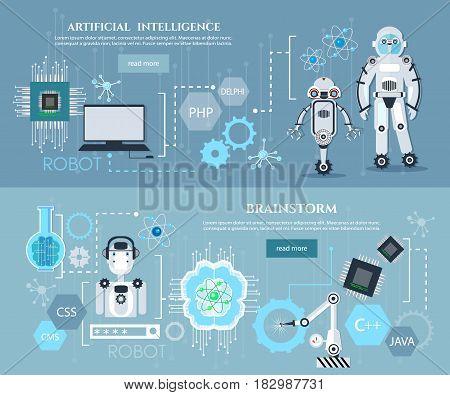 Artificial intelligence infographics creation of robots modern technologies microchips development future technologies vector
