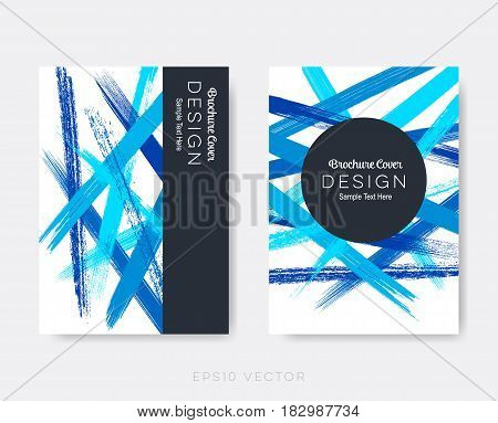 Modern abstract brochure cover design templates brush strokes