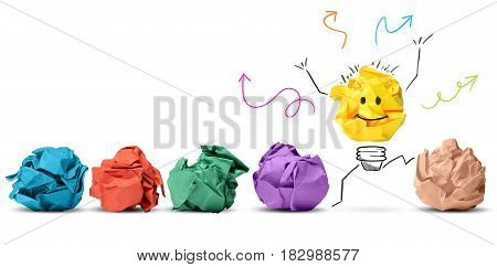 Idea and innovation concept with crumpled colored paper