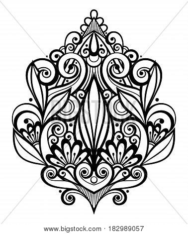 Vector Black Decorative Element In Doodle Style With Lot Of Swirls