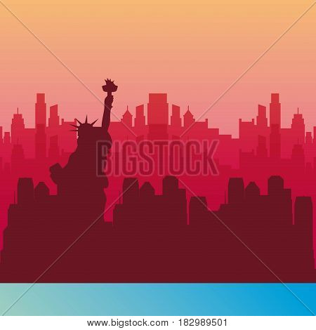 new york background in pink color with blue line.  travel and tourism design. vector illustraiton