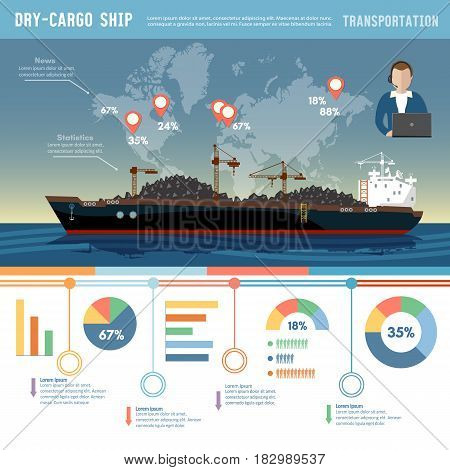 Cargo ship logistics and transportation infographic concept tanker cargo ship transports coal sand
