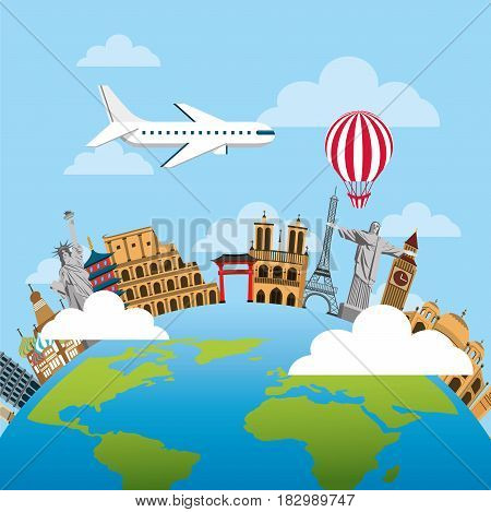 iconics monuments of the world around the earth planet and airplane and balloon flying. travel and tourism design. vector illustraiton