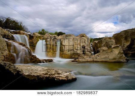 Spectacular Waterfalls And Rapids Of The Cascades Du Sautadet In France