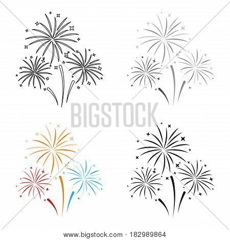 Colorful fireworks icon in cartoon style isolated on white background. Event service symbol vector illustration.