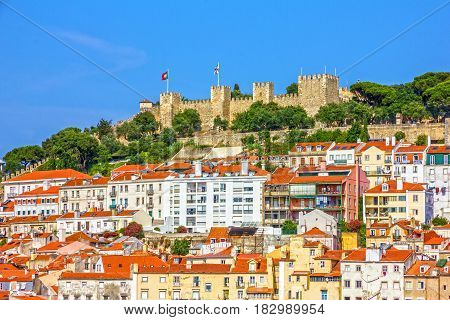 Lisbon fortress of Saint George view, Portugal (Castelo de Sao Jorge)