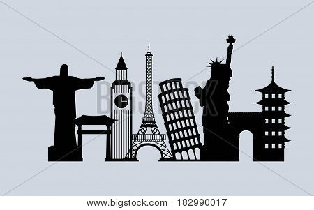 silhouette of iconics monuments of the world over white background. travel and tourism design. vector illustraiton