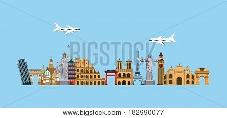 iconics monuments of the world over blue background. travel and tourism design. vector illustraiton