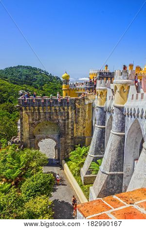 Sintra, Portugal - April 5, 2017: Pena National Palace in Sintra (Palacio Nacional da Pena), Portugal.