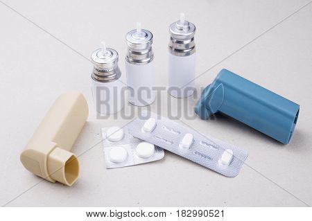 Set Of Asthma Inhalers