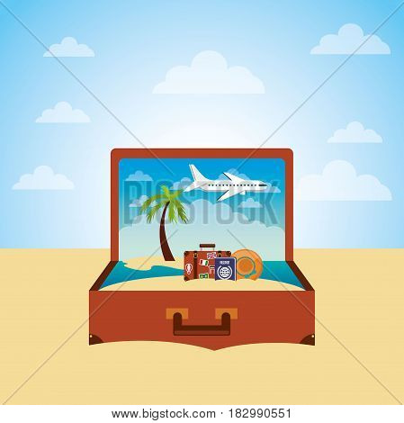suitcase with summer vacations icons over beach background. travel and tourism design. vector illustraiton