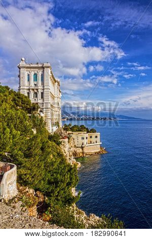 Monaco and Monte Carlo principality. Sea view, Oceanographic museum building