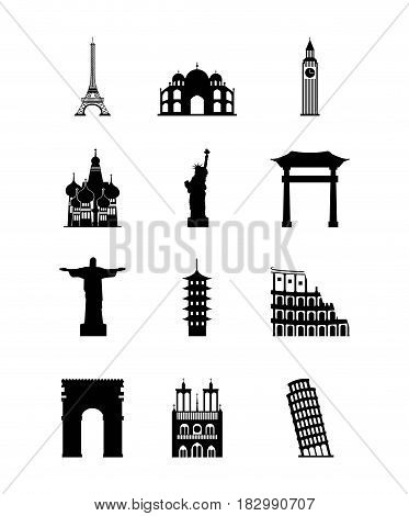 icons of iconics monuments of the world over white background. travel and tourism design. vector illustraiton