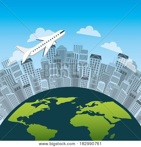 urban city and airplane flying around earth planet icon. travel and tourism design. vector illustraiton