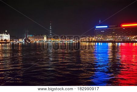 Night view from the boat on river of the Saint-Petersburg city, Russian Federation