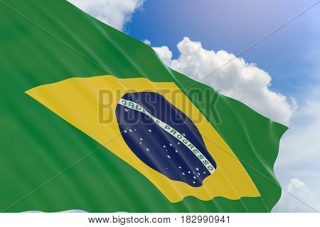 3D Rendering Of Brazil Flag Waving On Blue Sky Background