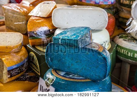 ROTTERDAM, THE NETHERLANDS - April 3, 2017: Blue lavanda cheese of the new Market Hall located in Blaak district Rotterdam Netherlands